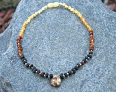Ombre Style with Pendant Unpolished Baltic Amber Teething Necklace - Any Size- Adult or Child