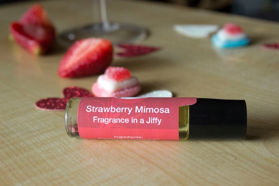 Strawberry Mimosa Perfume Oil, Roll On Perfume, Fruity Floral Fragrance, Valentines Day Inspired Fragrance
