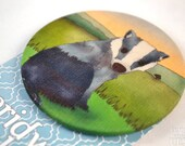 Badger Fabric Badge, Large Badge, Pin Badge, Fabric Covered Button