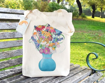 Flower Vase Bag, Reusable Shopper Bag, Cotton Tote, Ethically Produced Shopping Bag, Eco Tote Bag, Reusable Grocery Bag