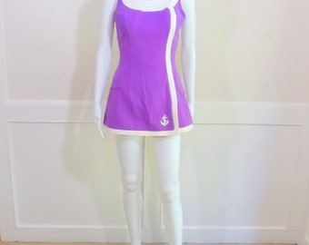 ROSE MARIE REID Purple and White Nautical Swimsuit Size 12