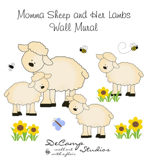 Barnyard sheep mural wall decals baby farm animal by for Barnyard wall mural