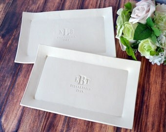 Wedding Gift for Parents - Set of Personalized Rectangular Platters - Gift Boxed