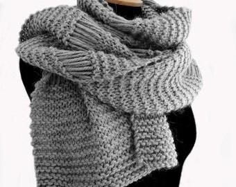 Chunky hand knit scarf, grey wool scarf, womens chunky scarf
