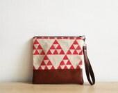 Geometric Clutch Purse Wristlet Cosmetic bag Red Triangle Tribal Print,