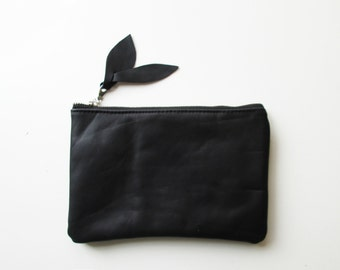 Black leather pouch, Leather clutch, Clutch purse, Cosmetic bag,