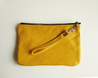 Yellow Leather pouch, Clutch bag, Zippered pouch, Yellow purse, Wristlet, Cosmetic bag, Carry all pouch