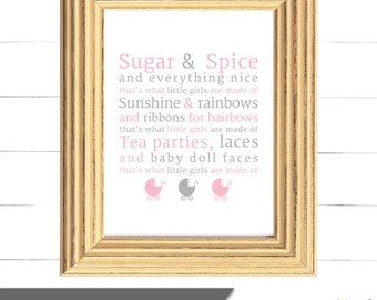 What Little Girls Are Made Of - Wall Art - Nursery Decor - Instant Download
