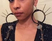 B L A C K  B E A U T Y   long black leather wire wrapped hoops with raw blue fluorite real horns chain Swarovski beads