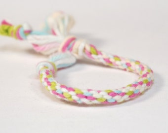 Kids Bracelet Kumihimo Baby Toddler Cotton Fibre Green, Pink, Blue, White Childrens Jewelry
