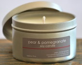 Pear & Pomegranate Soy Candle Tin 8 oz. - pear candle - pomegranate candle - fruit candle - fall candle - food candle - holiday candle