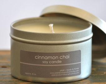 Cinnamon Chai Soy Candle Tin 8 oz. - cinnamon soy candle - chai tea soy candle - food soy candle - fall soy candle - holiday soy candle