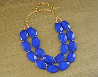 Double Strand Royal Blue Layered Statement Necklace - Chunky Blue Bead Necklace - Double Layer Bib - Cobalt Blue Bridesmaid Necklace
