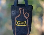 Growler Bag, Screen Printed Denim Tote, Growl, Beer Lover Gift