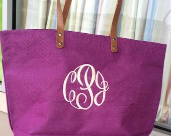 Monogrammed Dark Magenta Colored Jute Bag Font shown MASTER CIRCLE in ivory