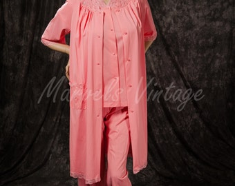 Vintage Shadowline Pajamas and Robe Set Salmon Pink Retro Lingerie Size 34