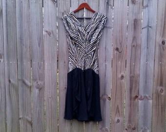 S Small Vintage 70s 80s Semi-Sheer Ruffle Skirt V-Neck Metallic Black Gold Silver Asymmetrical Striped Drop Waist Party Holiday Disco Dress