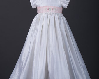 Silk and Organza Christening Gown Baptism Gown  0-3 months, 3-6 months, 6-9 months, 9-12 months, 12-18 months, 18-24 months