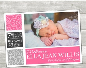 Birth announcement: damask, custom photo card, damask, box, custom color, digital
