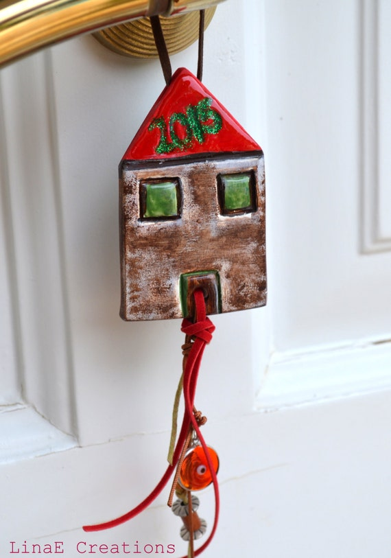 Reserved - Rustic clay house, 2015 charm, christmas gift, new years decoration