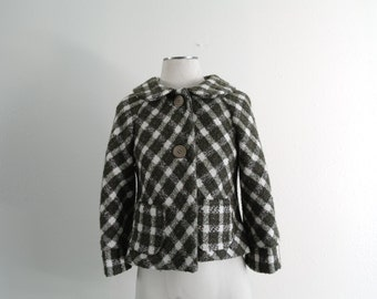 Vintage 60s Mod Coat - Wool Peacoat - Cropped Coat - Womens Coat - Green Plaid - Small/Medium