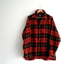 Vintage Buffalo Plaid Jacket, 90s Gap Jacket, Mens Jacket, Red Wool Jacket, Flannel Shirt, Red Plaid Shirt, Thick Wool Shirt, Button Up, XL