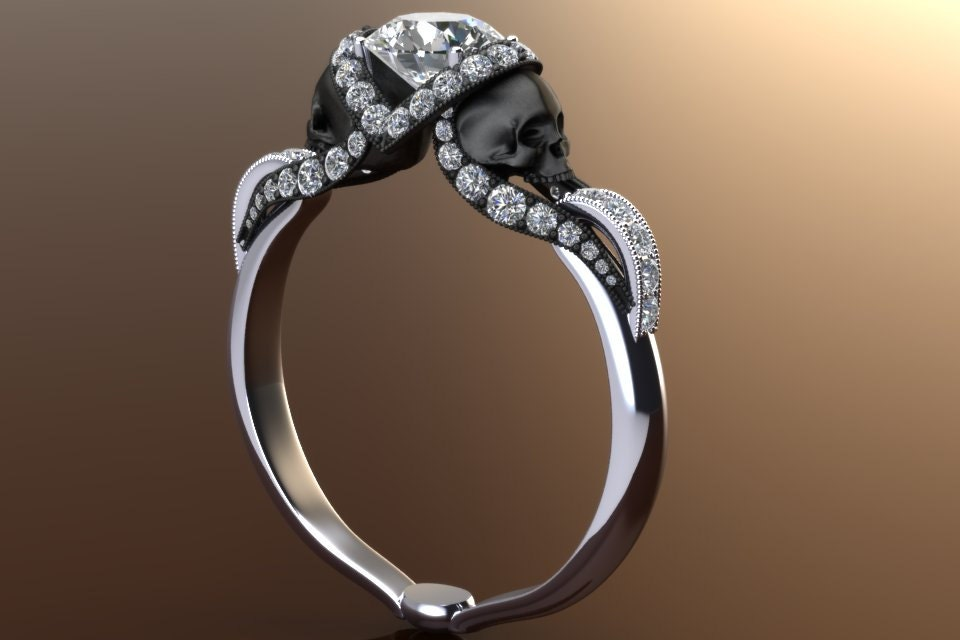 diamond vapor skull ring with half carat center 14k gold - Skull Wedding Rings