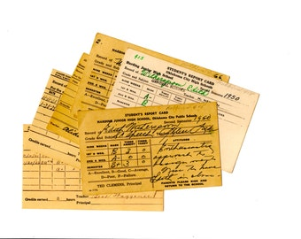 Vintage Digital Ephemera Collection 1920's 1950's School Report Cards Instant Download Collage