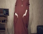 long sleeve dress, sweater dress, maxi winter dress, Oversized Dress in Red, Long Shift Dress, Maxi Linen Dress, Shirt Dress, boho dress