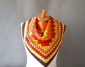 Vintage large scarf carré summer spring women's XXL yellow red orange checked square