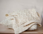 Baby blanket hand knitted creamy white grid pattern 31x31 inch nursery gift  0358