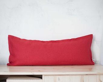 Red lumbar pillow - lumbar cushion - lumbar pillow case  0078