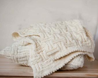 Baby blanket hand knitted creamy white grid pattern 31x31 inch nursery gift  0358