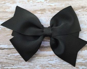 4 inch black hair bow - black bow, black pinwheel bow, girls hair bows, toddler bows, girls bows, black hair bows, 4 inch bows, hair clips