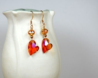 Orange heart earrings Sparkling Swarovski crystal heart dangle earring Romantic drop earrings Heart jewelry Valentines Day gift for her