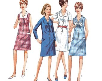 1967 Vintage V-Neck Shift Dress, Front Buttoned Step-in Style, Wide Wing Collar, Welts, Sleeveless or Sleeve Option Simplicity 7449 Bust 35""