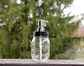Clear Pint Mason Jar Soap Dispenser with Black Lid and Stainless Pump