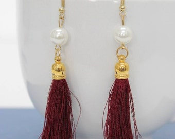 Maroon Tassel Earrings White Pearl  Handmade in Thailand Fair Trade Jewelry   (E4858-2C38)