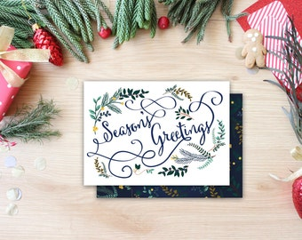 Season's Greetings Holiday Floral Calligraphy Whimsical Christmas Card Trendy Unique Christmas Card Photo Card Christmas Calligraphy