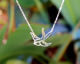 Bird Charm Necklace -Swallow Bird Pendant Necklace - Everyday Necklace - Dainty Modern Minimalist, Holiday Christmas Gifts, Gift for Her