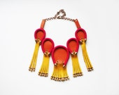 HOT - Leather Necklace Leather Fringe Necklace Geometric Necklace Neon Jewelry Chunky Bold Necklace Leather Jewelry Orange Pink Yellow