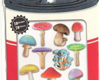 Kawaii Japan Sticker Flakes Assort: Photo Soup Series - Poisonous Mushrooms 70pcs Clear Stickers for diy Decorations Planner Schedule Book