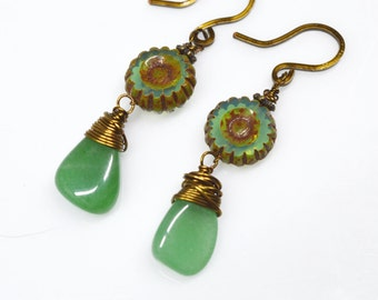 Green Aventurine Nugget Drops, Czech Jade & Brown Picasso Glass Flower Beads, Handcrafted French Hooks, Wire Wrapped in Vintage Bronze Wire