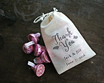 Personalized wedding favor bags, 3x4.5. Set of 50 double drawstring muslin bags. Thank You script with names and wedding date.