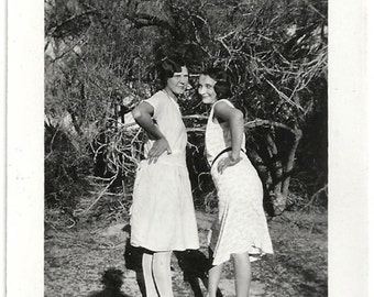 Old Photo 2 Women wearing Dresses Pose Photographers Shadow 1930s Photograph snapshot vintage