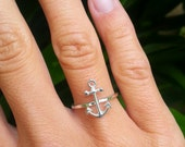 Anchor Ring, Sterling Silver Ring, Nautical Jewelry