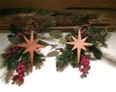 Set of 2 Star Ornaments -  Wooden Decor - READY TO SHIP