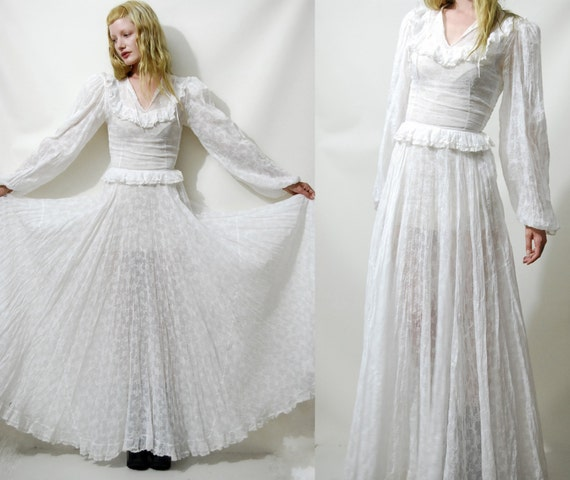 WEDDING DRESS White Lace Sheer Hippie Boho Bohemian Full Circle Long ...