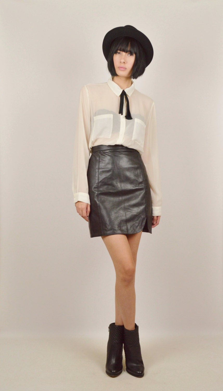 black leather high waisted pencil skirt by stellarvintique