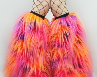rave fluffies you choose tie dye Fluffies fur boots furry bootcovers fuzzy boots gogo rave trippy neon furry leg warmers